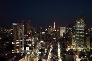 ガーデンタワー客室から望む東京タワー方面夜景